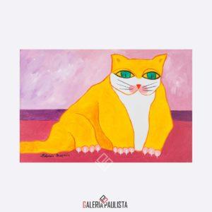 Aldemir martins oleo sobre tela gato amarelo galeria paulista