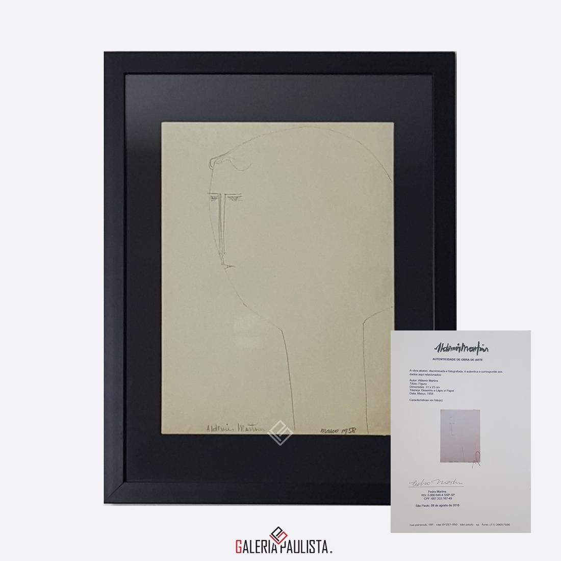 GP-P21050 Aldemir Martins Figura desenho 31×23 galeriapaulista certif
